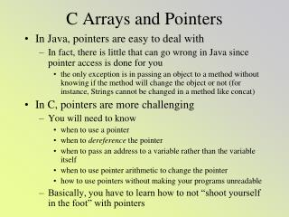 C Arrays and Pointers