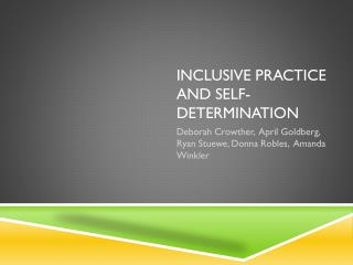 Inclusive Practice and Self-Determination