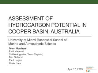 Assessment of Hydrocarbon Potential in Cooper Basin, Australia