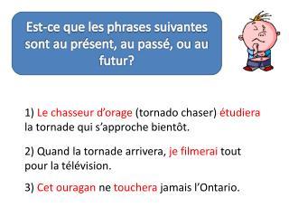 Est-ce que les phrases suivantes sont au présent, au passé, ou au futur?