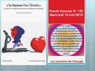 Parole Donnée N° 190 Mercredi 14 mai 2014