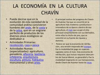LA  ECONOMÍA  EN  LA  CULTURA  CHAVÍN