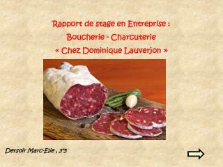 Rapport de stage en Entreprise : Boucherie - Charcuterie � Chez Dominique Lauverjon �