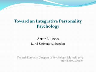 Toward  an Integrative  Personality Psychology