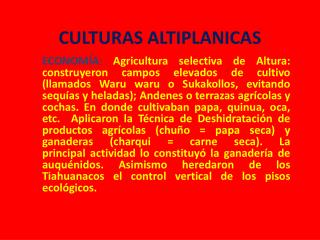 CULTURAS ALTIPLANICAS