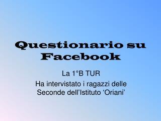 Questionario su Facebook