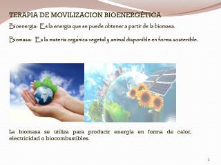 Bioenergía:  Es la energía que se puede obtener a partir de la biomasa.
