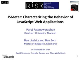 JSMeter : Characterizing the Behavior of  JavaScript Web Applications