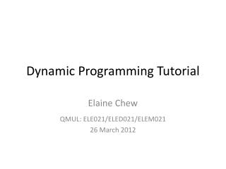 Dynamic Programming Tutorial