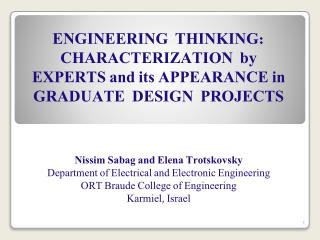 Nissim Sabag and Elena  Trotskovsky Department of Electrical and Electronic Engineering