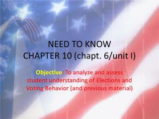 NEED TO KNOW  CHAPTER 10 ( chapt . 6/unit I)