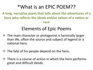 *What is an EPIC POEM??