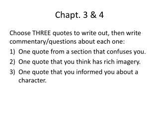 Chapt . 3 & 4