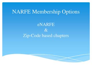NARFE Membership Options eNARFE   &  Zip-Code based chapters