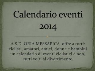 Calendario eventi 2014