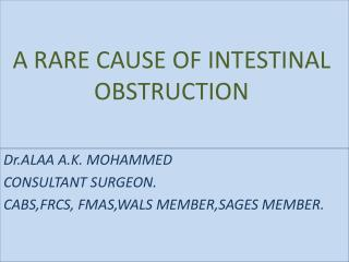 A RARE CAUSE OF INTESTINAL OBSTRUCTION