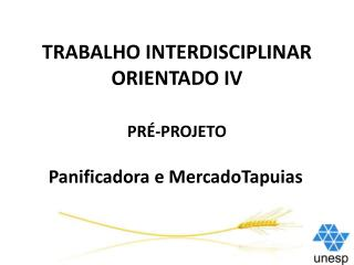 TRABALHO INTERDISCIPLINAR ORIENTADO IV