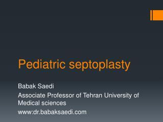 Pediatric septoplasty