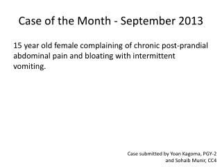Case of the Month - September 2013