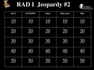 RAD I  Jeopardy #2