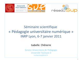 Séminaire scientifique  «Pédagogie universitaire numérique» INRP Lyon, 6-7 janvier 2011