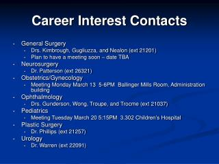 Career Interest Contacts General Surgery