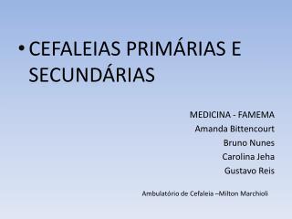 CEFALEIAS PRIMÁRIAS E SECUNDÁRIAS MEDICINA - FAMEMA Amanda Bittencourt Bruno Nunes Carolina  Jeha