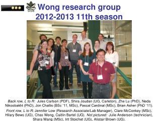Wong research group 2012-2013 11th season