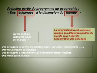 Premi re partie du programme de g ographie :   Des    changes     la dimension du   monde