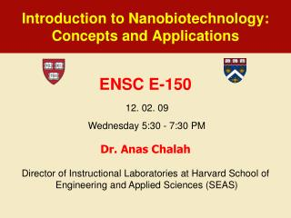 Introduction to  Nanobiotechnology : Concepts and  Applications