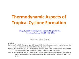 Thermodynamic Aspects of Tropical Cyclone Formation