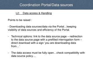 Coordination Portal/Data sources