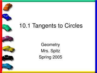 10.1 Tangents to Circles