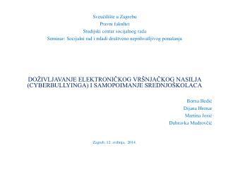 Sveučilište u Zagrebu Pravni fakultet Studijski centar socijalnog rada