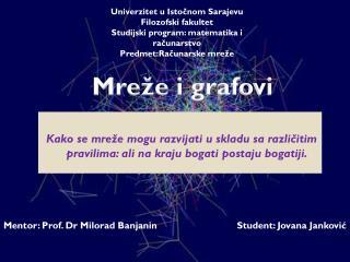 Univerzitet u Istočnom Sarajevu Filozofski fakultet Studijski program: matematika i računarstvo