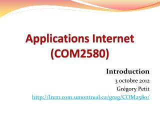 Applications Internet (COM2580)