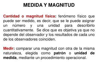 MEDIDA Y MAGNITUD