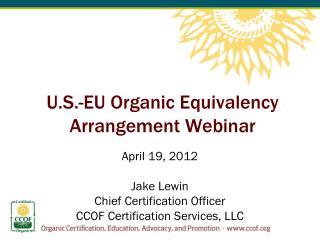 U.S.-EU Organic Equivalency Arrangement Webinar