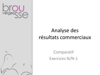 Analyse des  résultats commerciaux