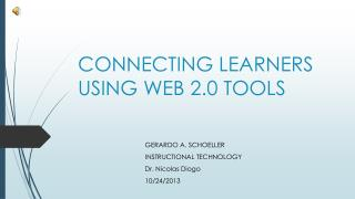 CONNECTING LEARNERS USING WEB 2.0 TOOLS