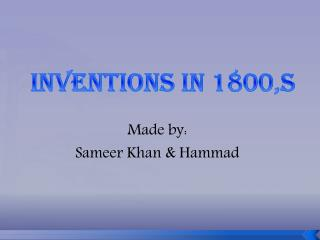 Inventions  in 1800,s