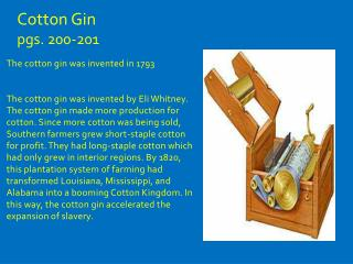 Cotton Gin  pgs. 200-201