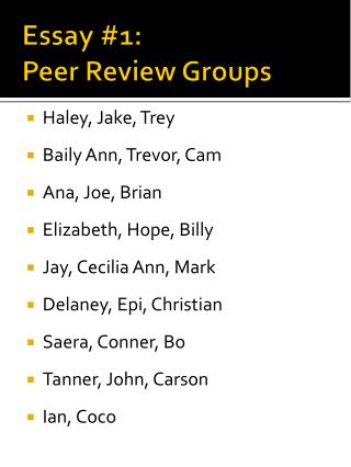 Essay #1:  Peer Review Groups