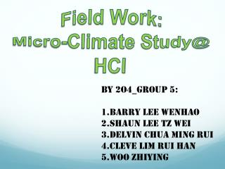 Field Work: Micro-Climate Study@ HCI