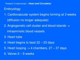 Pediatric Fundamentals   Heart and Circulation
