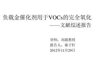 负载金 催化剂用于 VOCs 的完全氧 化