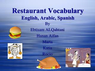 Restaurant Vocabulary English, Arabic, Spanish