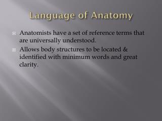 Language of Anatomy