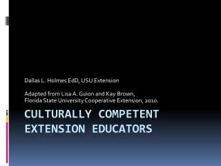 Culturally Competent Extension Educators