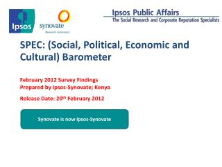 SPEC: (Social, Political, Economic and Cultural) Barometer
